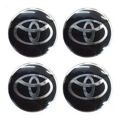 Наклейка на диск Toyota D56 мм алюминий, выпуклый (Серебристый логотип на черном фоне) с логотипом на колпачок колесных дисков